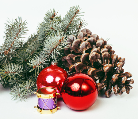 stuff toys: new year celebration, Christmas holiday stuff, tree, toys, decoration with snow, santas red hat cone
