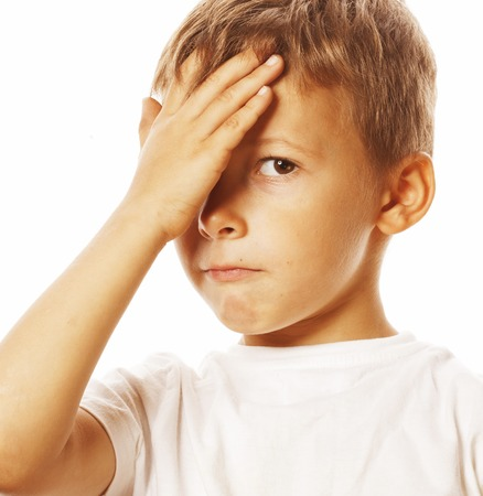 blond boy: litlle cute blond boy tired sad isolated close up guilty look