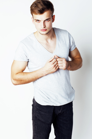 cute guy: young handsome man on white background gesturing, pointing, posing emotional, cute guy sexy isolated
