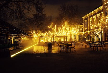 noone: empty night restaurant, lot of tables and chairs with noone, magic fairy lights on trees like christmas, luxury lifestyle concept