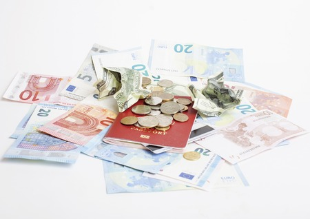 global crisis: Cash on table isolated: dollars, euro, rubl broken money. All in mess, global crisis concept. nobody financial