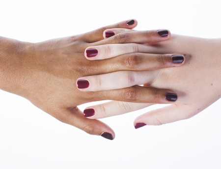 manicured hands: two different nathion manicured hands on white isolated, african with caucasian close up, united nation concept