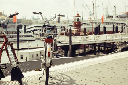 ap: post card city view from vintage bicycle, riverside Germany, Hamburg close ap Stock Photo
