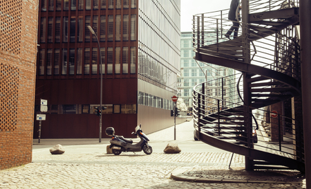 motobike: Card view: european street with stairs and motobike vintage, noone