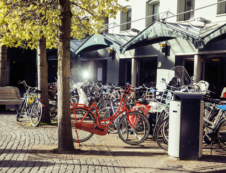 post card city view from vintage bicycle, near cafe, sunlight Amsterdam Holland