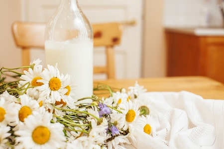 simply: Simply stylish wooden kitchen with bottle of milk and glass on table, summer flowers camomile, healthy foog moring concept noone