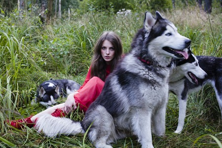 mysterious woman: Mysterious woman in red dress with tree wolfs, forest, husky dogs mystery portrait