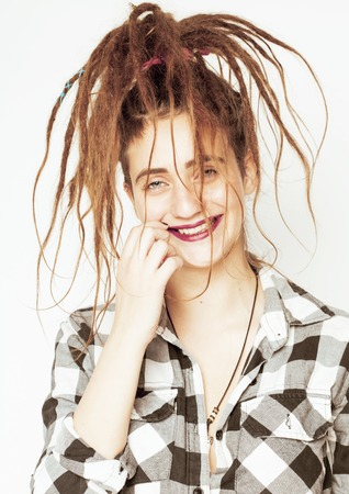 real caucasian woman with dreadlocks hairstyle funny cheerful faces on white background Stock Photo