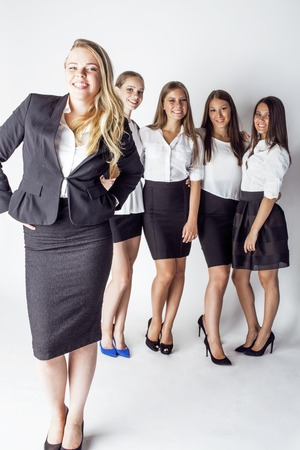 team victory: lot of businesswomen happy smiling celebrating success of team victory on work, dress code black and white official, lifestyle people concept close up Stock Photo