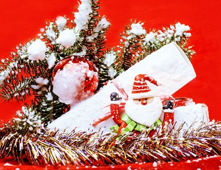 new year celebration, Christmas holiday stuff, tree, toys, decoration with snow isolated, santas red hat