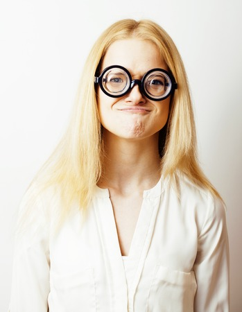 bookworm, cute young blond woman in glasses, blond hair, teenage, lifestyle people concept close up