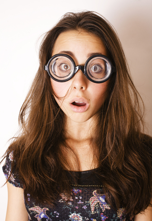 teenage bookworm concept, cute young woman in glasses, lifestyle people close up Stock Photo