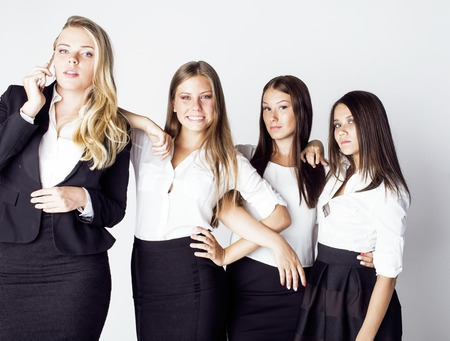 team victory: lot of businesswomen happy smiling celebrating success of team victory on work, dress code black and white official, lifestyle real working people concept