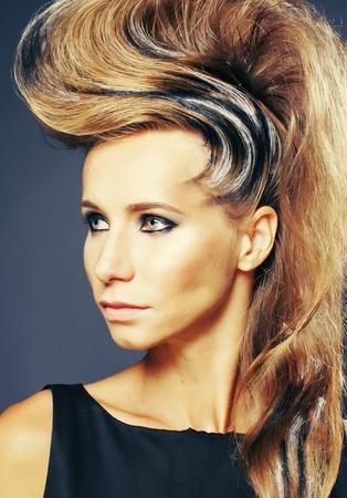 young elegant woman with creative hair style zebra print close up pretty like punk fashion Stockfoto