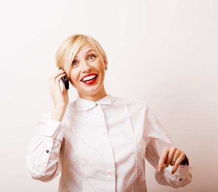 very emotional businesswoman in glasses, blond hair on white background, lifestyle people close up