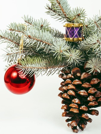 new year celebration, Christmas holiday stuff, tree, toys, decoration with snow isolated, santas red hat close up