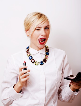 cute smiling attractive blond woman rouge lips with red color lipstick, lifestyle people concept close up Stock Photo