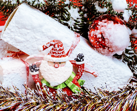 stuff toys: new year celebration, Christmas holiday stuff, tree, toys, decoration with snow, santas red hat