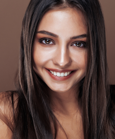 cute happy young indian woman in studio close up happy smiling, fashion mulatto adorable smile, lifestyle people concept