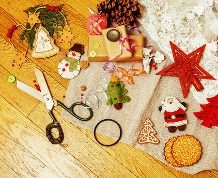lot of stuff for handmade gifts, scissors, ribbon, paper with co Stock Photo