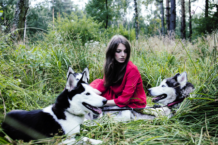 rudeness: woman in red dress with tree wolfs, forest, husky dogs mystery p Stock Photo