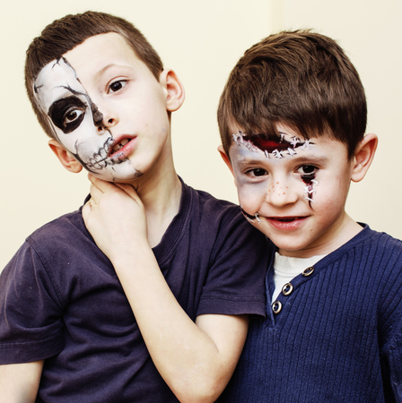 birthday party kids: zombie apocalypse kids concept. Birthday party celebration facep