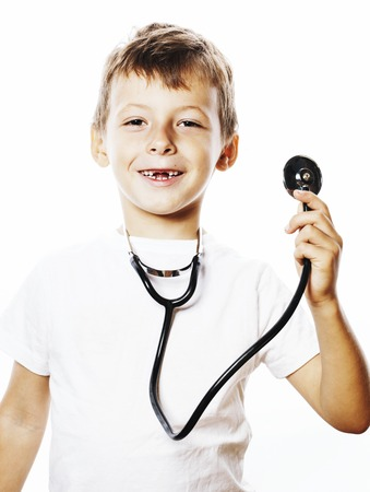 little cute boy with stethoscope playing like adult profession d Stock Photo