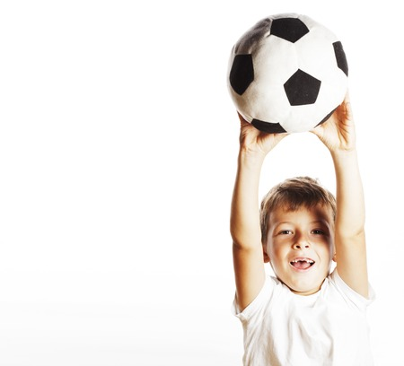 little cute boy playing football ball isolated on white close up