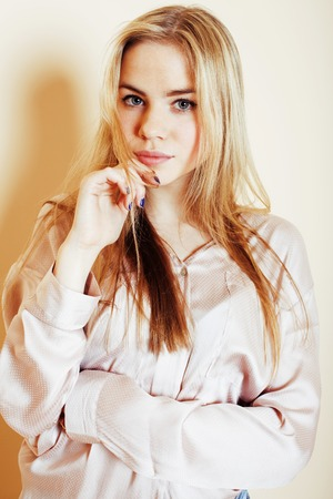 peo: young pretty blond teenage girl close up portrait, lifestyle peo