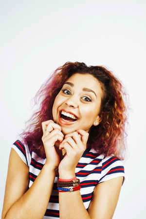 young cute mixed races girl teenage posing cheerfull on white background isolated, happy smiling lifestyle people concept