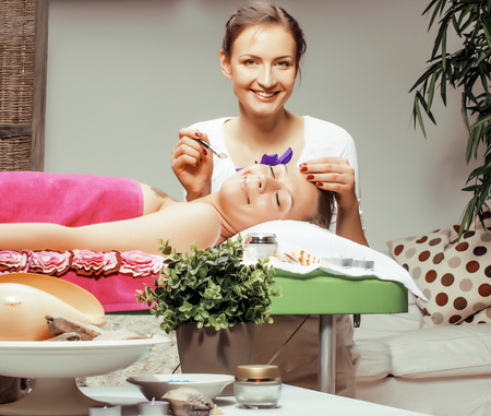 photo attractive lady getting spa treatment in salon with cheerful doctor smiling caucasian people