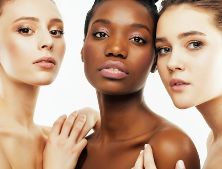 different nation woman: african-american, caucasian together isolated on white background happy smiling, diverse type on skin, lifestyle people concept