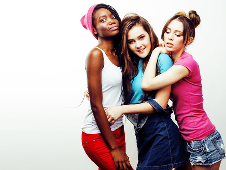 diverse multi nation girls group, teenage friends company cheerf