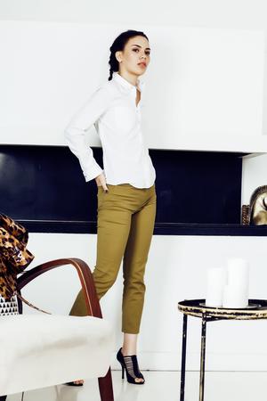 pretty stylish woman in fashion dress with leopard print togethe