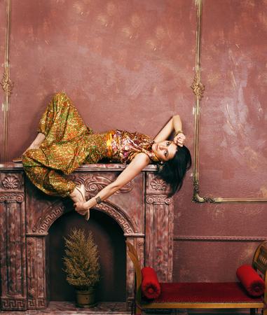 portrait of beauty sensual young woman in oriental style luxury