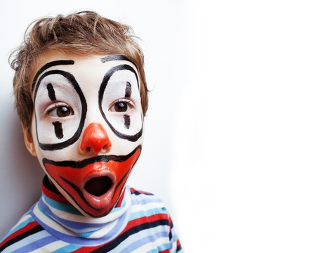 little cute real boy with facepaint like clown Stock fotó
