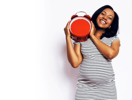 young pretty african american woman pregnant happy smiling, posi 免版税图像