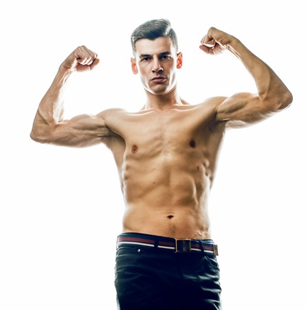 young handsome agressive man boxing isolared on white background Stok Fotoğraf