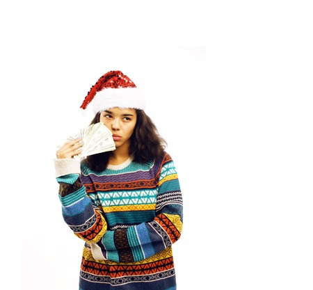 cute young real african hipster girl in santas red hat isolated