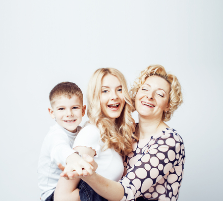 happy smiling family together posing cheerful on white background Imagens - 122365851