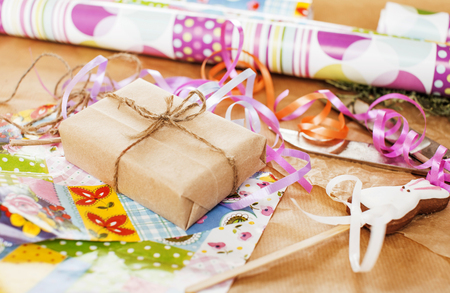 lot of stuff for handmade gifts, scissors, ribbon, paper with co Stok Fotoğraf