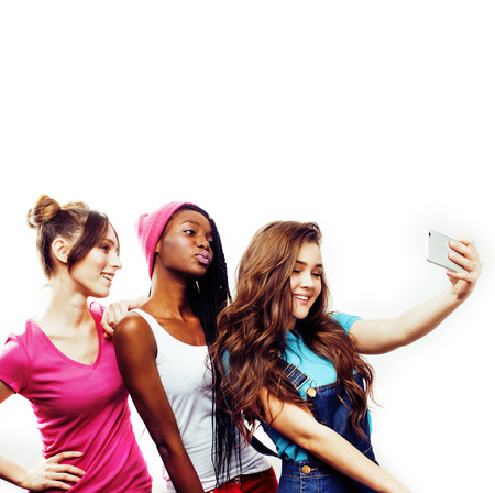 diverse multi nation girls group, teenage friends company cheerful