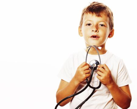 little cute boy with stethoscope playing like adult profession d 写真素材