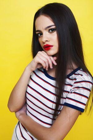 lifestyle people concept: pretty young school teenage girl havin Stock fotó