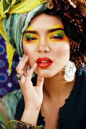 beauty bright woman with creative make up Banco de Imagens