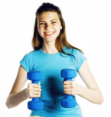young pretty slim woman with dumbbell isolated on white background