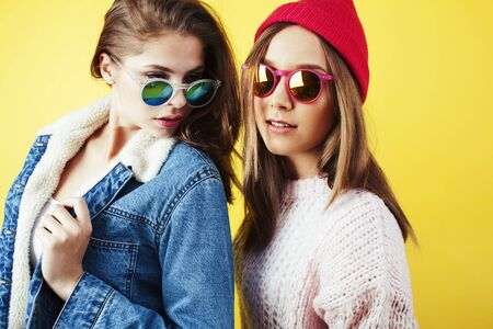 lifestyle people concept: two pretty young school teenage girls