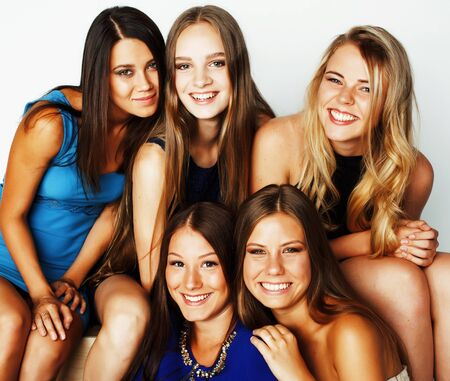 many girlfriends hugging celebration on white background