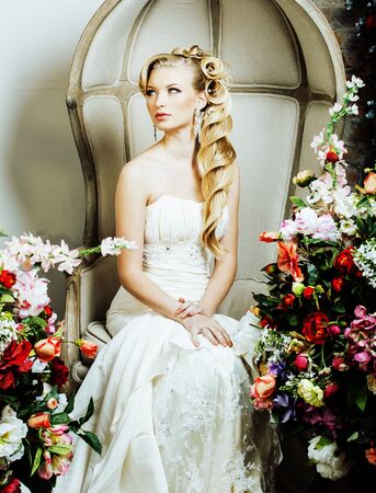 beauty emotional blond bride in luxury interior dreaming
