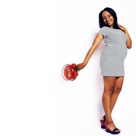 young pretty african american woman pregnant happy smiling, posi 版權商用圖片